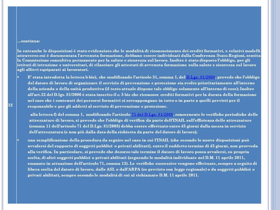 32 …continua: In entrambe le disposizioni è stato evidenziato che le modalità di riconoscimento dei crediti formativi, e relativi modelli attraverso c