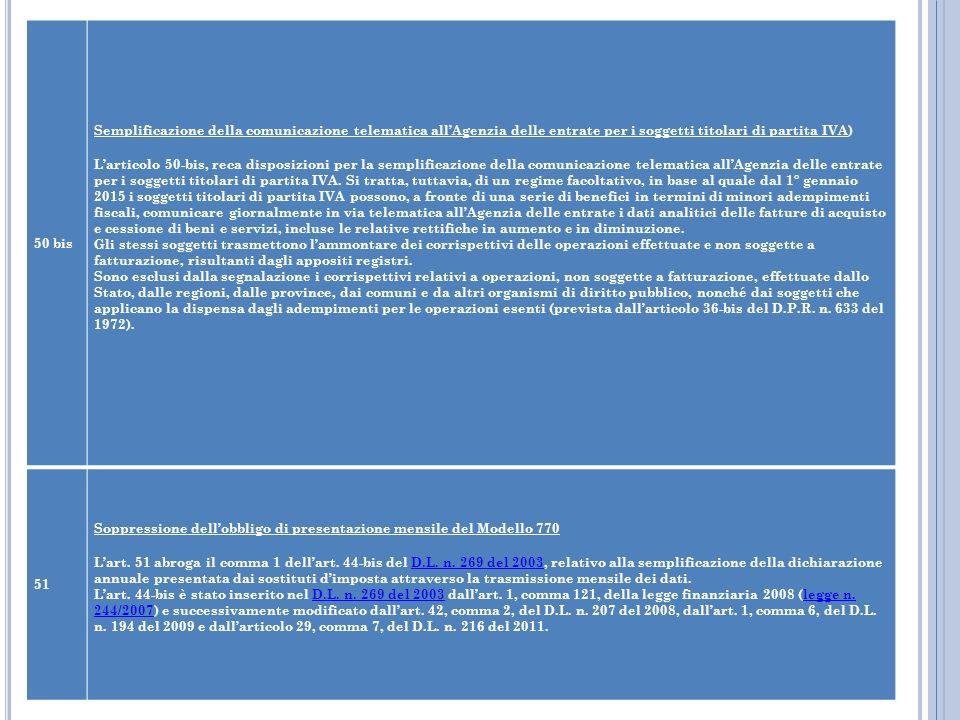 50 bis Semplificazione della comunicazione telematica allAgenzia delle entrate per i soggetti titolari di partita IVA) Larticolo 50-bis, reca disposiz