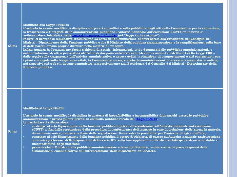 54 bis Modifiche alla Legge 190/2012 Larticolo in esame, modifica la disciplina sui poteri consultivi e sulla pubblicità degli atti della Commissione