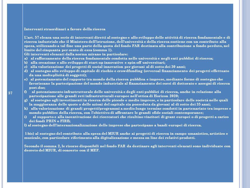 57 Interventi straordinari a favore della ricerca Lart. 57 elenca una serie di interventi diretti al sostegno e allo sviluppo delle attività di ricerc
