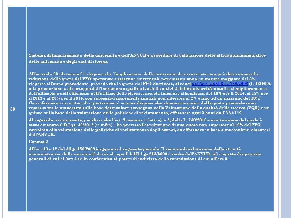60 Sistema di finanziamento delle università e dellANVUR e procedure di valutazione delle attività amministrative delle università e degli enti di ric