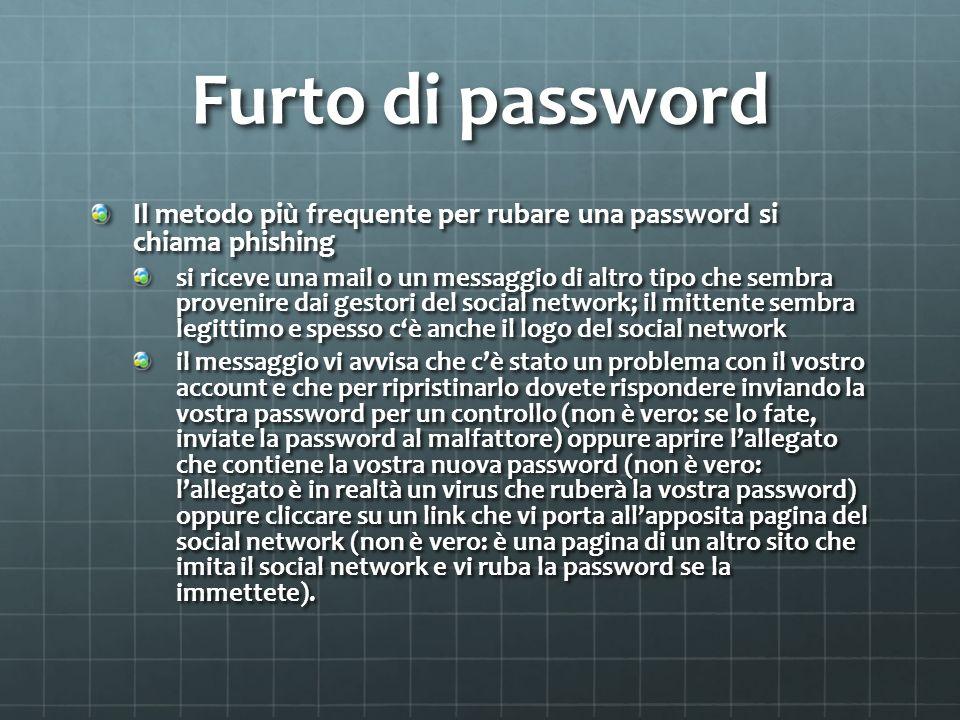 Furto di password Il metodo più frequente per rubare una password si chiama phishing si riceve una mail o un messaggio di altro tipo che sembra prove