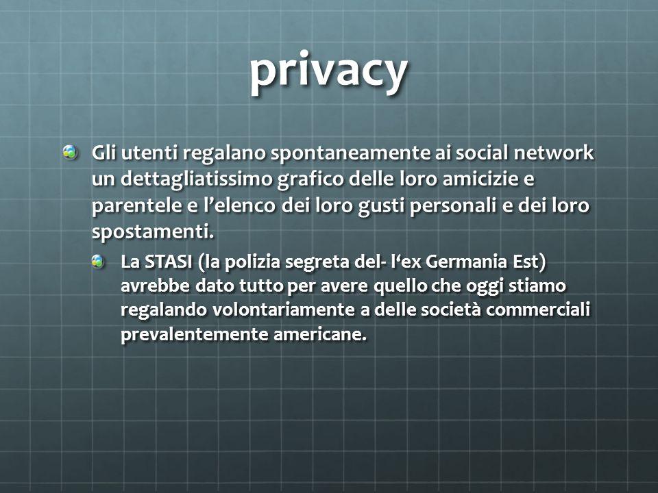 privacy Gli utenti regalano spontaneamente ai social network un dettagliatissimo grafico delle loro amicizie e parentele e lelenco dei loro gusti pers