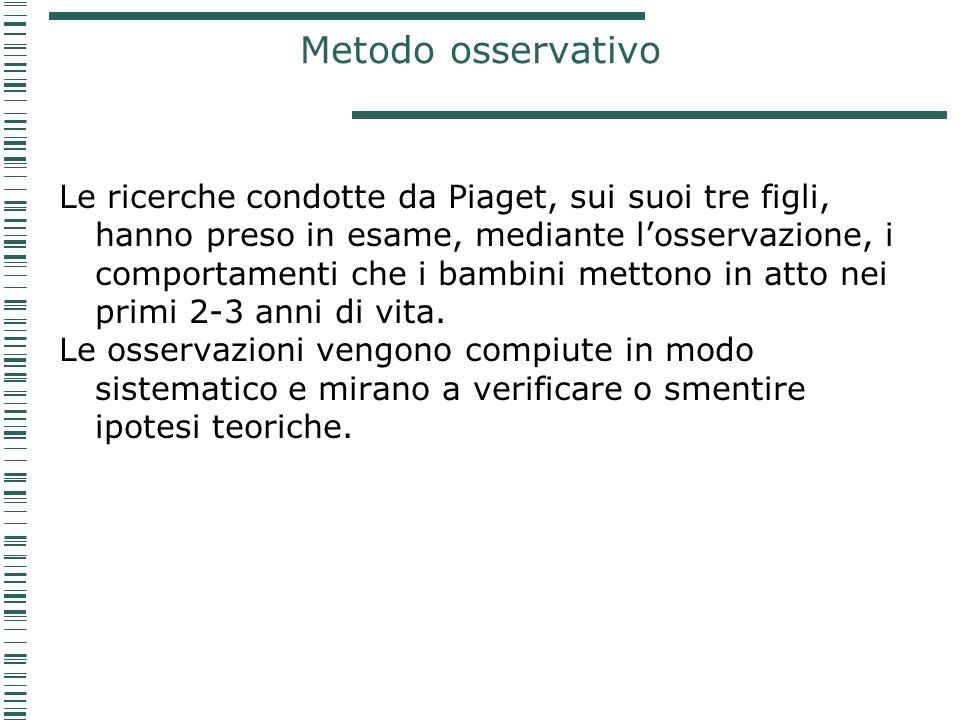 Metodo osservativo Le ricerche condotte da Piaget, sui suoi tre figli, hanno preso in esame, mediante losservazione, i comportamenti che i bambini met