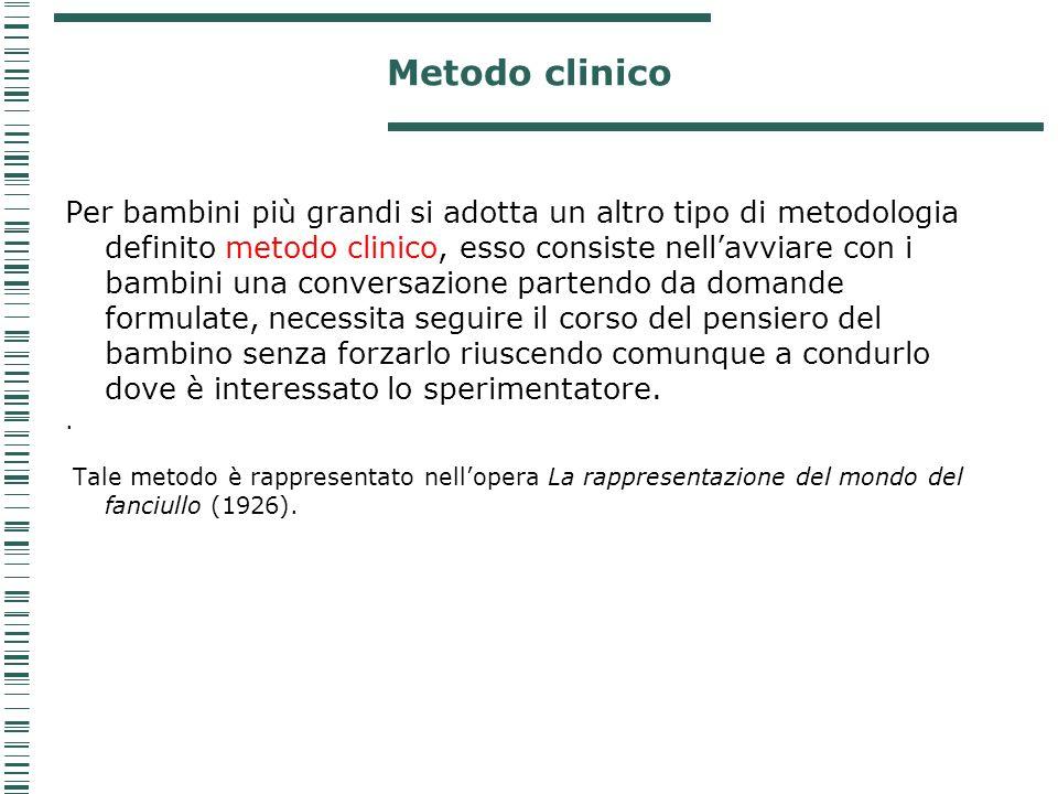 Metodo clinico Per bambini più grandi si adotta un altro tipo di metodologia definito metodo clinico, esso consiste nellavviare con i bambini una conv