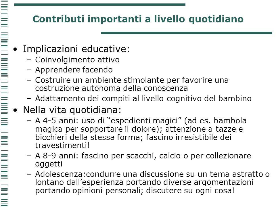 Contributi importanti a livello quotidiano Implicazioni educative: –Coinvolgimento attivo –Apprendere facendo –Costruire un ambiente stimolante per fa