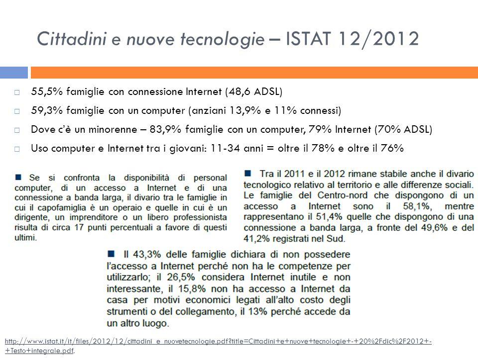 Cittadini e nuove tecnologie – ISTAT 12/2012 55,5% famiglie con connessione Internet (48,6 ADSL) 59,3% famiglie con un computer (anziani 13,9% e 11% c