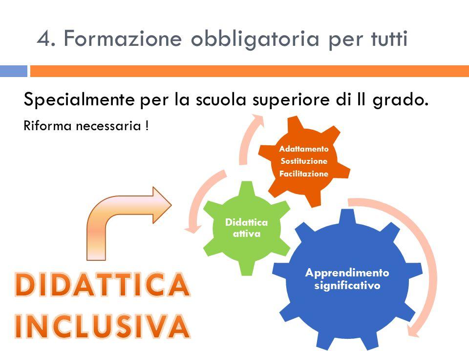 4. Formazione obbligatoria per tutti Specialmente per la scuola superiore di II grado. Riforma necessaria ! Apprendimento significativo Didattica atti