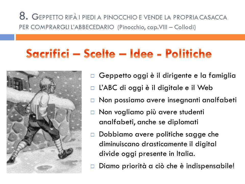 8. G EPPETTO RIFÀ I PIEDI A PINOCCHIO E VENDE LA PROPRIA CASACCA PER COMPRARGLI LABBECEDARIO (Pinocchio, cap.VIII – Collodi) Geppetto oggi è il dirige