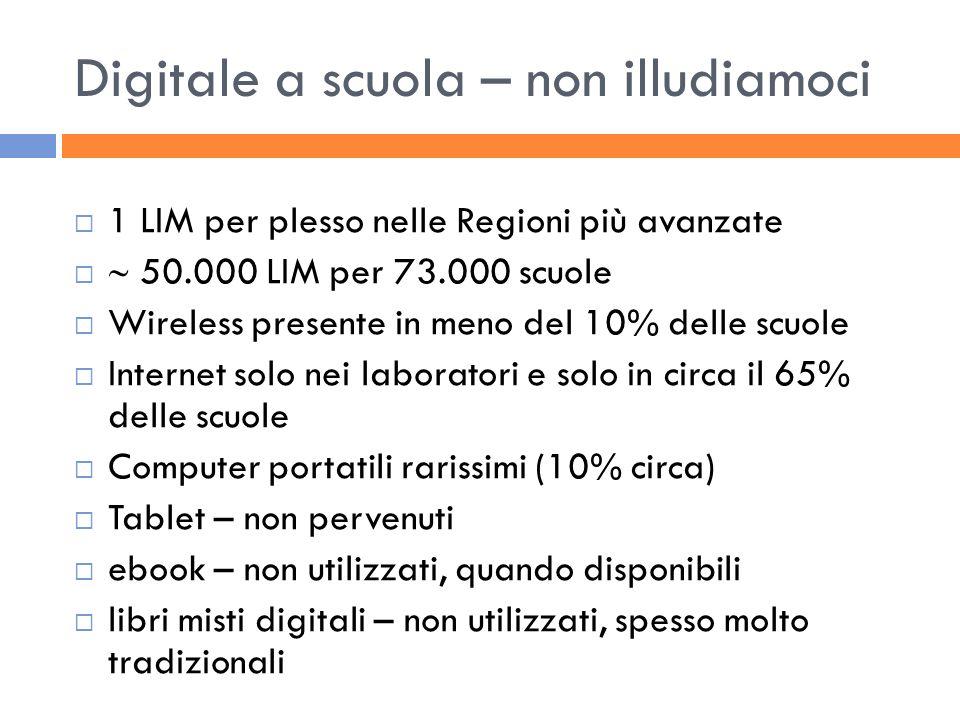 Digitale a scuola – non illudiamoci 1 LIM per plesso nelle Regioni più avanzate 50.000 LIM per 73.000 scuole Wireless presente in meno del 10% delle s