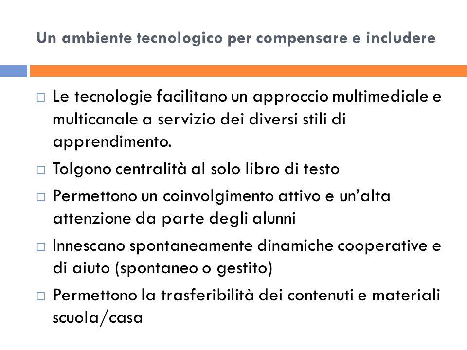 Un ambiente tecnologico per compensare e includere La sfida è quella di trovare strategie didattiche inclusive che facilitino luso degli strumenti compensativi nello studio domestico.