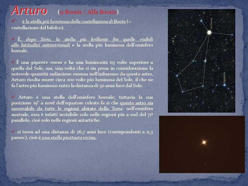 Arturo Arturo (α Bootis / Alfa Bootis) è la stella più luminosa della costellazione di Boote (= costellazione del bifolco).