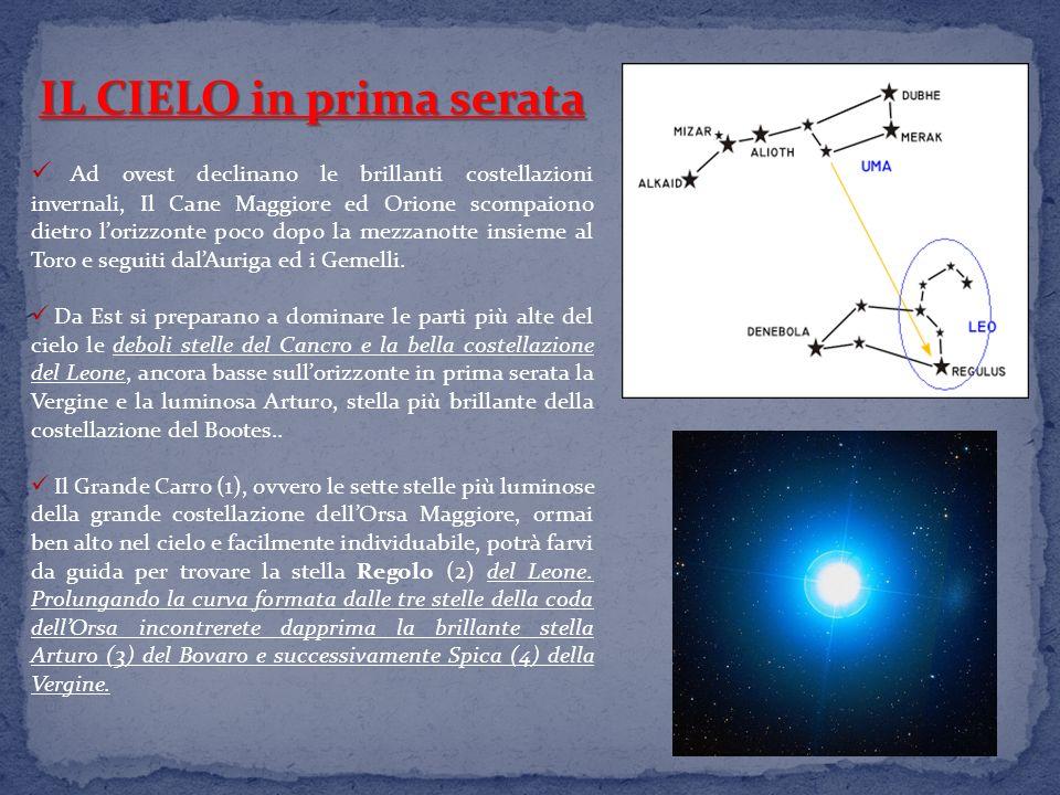 IL CIELO in prima serata Ad ovest declinano le brillanti costellazioni invernali, Il Cane Maggiore ed Orione scompaiono dietro lorizzonte poco dopo la mezzanotte insieme al Toro e seguiti dalAuriga ed i Gemelli.