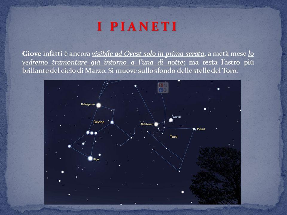 I PIANETI Giove infatti è ancora visibile ad Ovest solo in prima serata, a metà mese lo vedremo tramontare già intorno a luna di notte; ma resta lastro più brillante del cielo di Marzo.