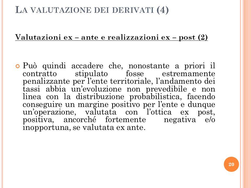 Valutazioni ex – ante e realizzazioni ex – post (2) Può quindi accadere che, nonostante a priori il contratto stipulato fosse estremamente penalizzant