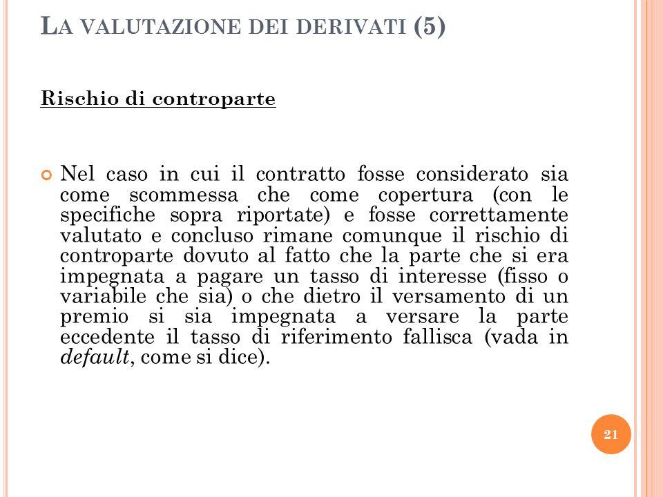 Rischio di controparte Nel caso in cui il contratto fosse considerato sia come scommessa che come copertura (con le specifiche sopra riportate) e foss
