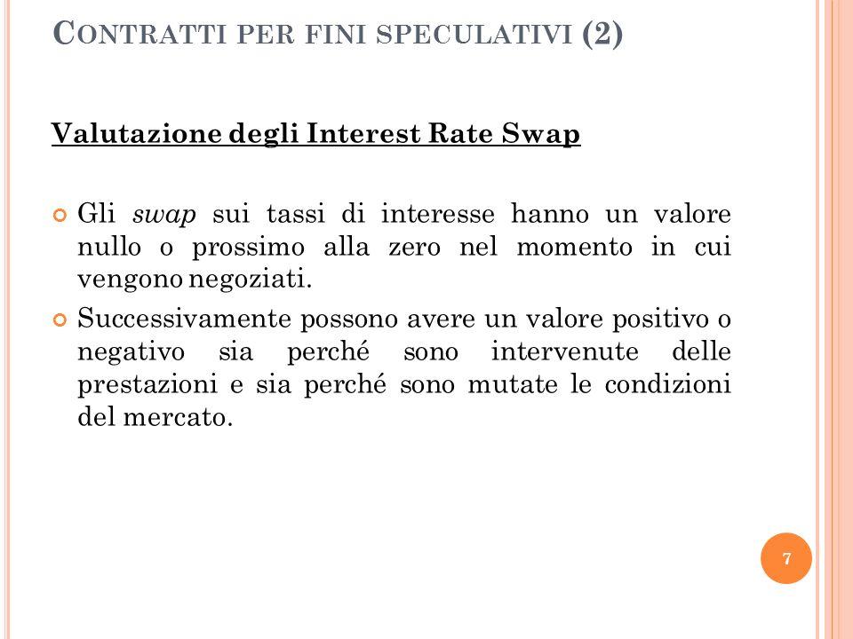 Valutazione degli Interest Rate Swap Gli swap sui tassi di interesse hanno un valore nullo o prossimo alla zero nel momento in cui vengono negoziati.