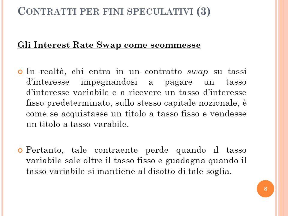 Gli Interest Rate Swap come scommesse In realtà, chi entra in un contratto swap su tassi dinteresse impegnandosi a pagare un tasso dinteresse variabil
