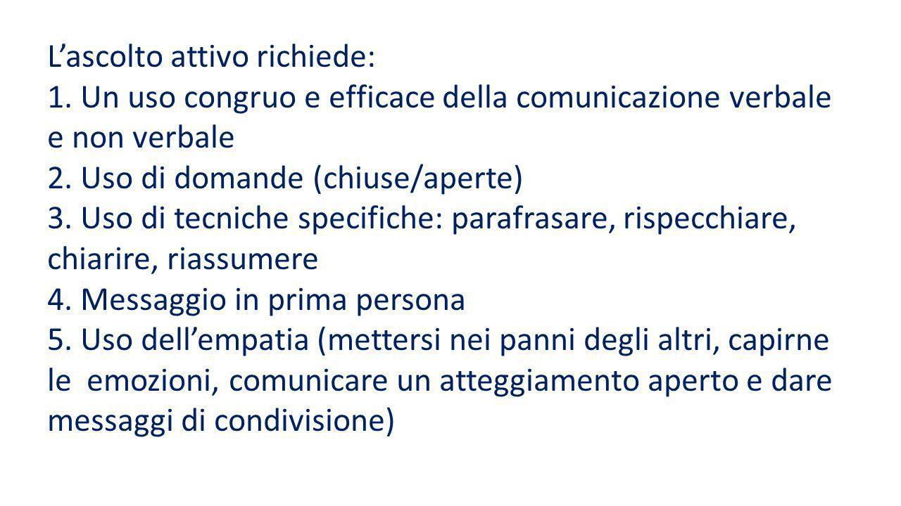 Nellascolto attivo si distinguono 5 tappe fondamentali: 1 Ascoltare il contenuto e fare domande di chiarimento 2 Capire le finalità della comunicazion