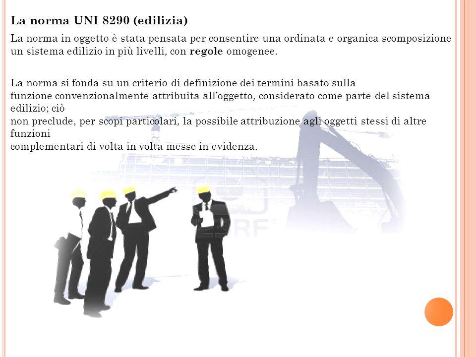 La norma UNI 8290 (edilizia) La norma in oggetto è stata pensata per consentire una ordinata e organica scomposizione un sistema edilizio in più livel