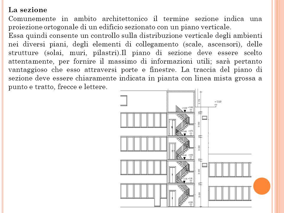 La sezione Comunemente in ambito architettonico il termine sezione indica una proiezione ortogonale di un edificio sezionato con un piano verticale. E