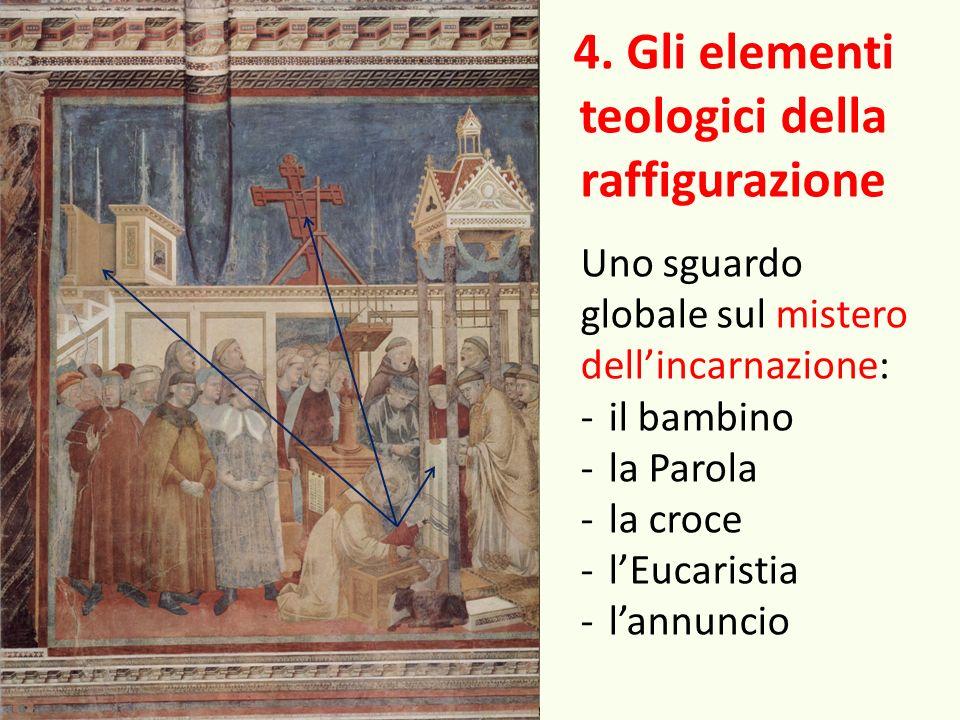4. Gli elementi teologici della raffigurazione Uno sguardo globale sul mistero dellincarnazione: -il bambino -la Parola -la croce -lEucaristia -lannun