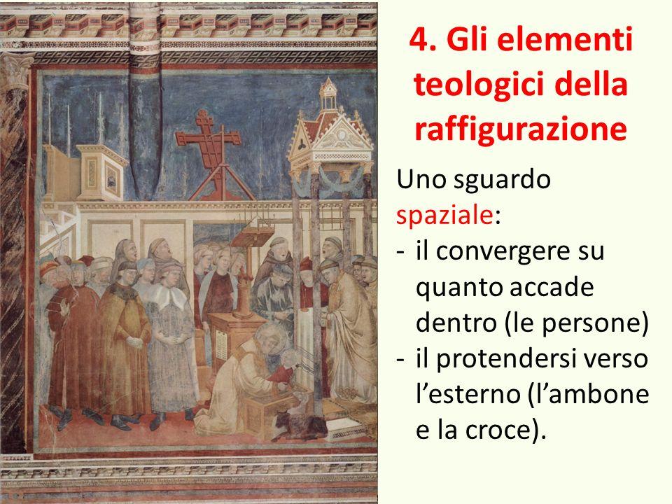 4. Gli elementi teologici della raffigurazione Uno sguardo spaziale: -il convergere su quanto accade dentro (le persone) -il protendersi verso lestern