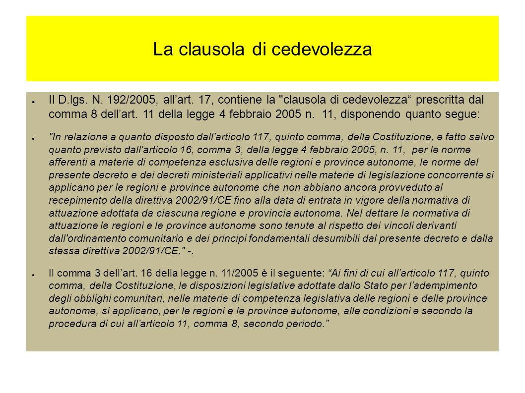 La clausola di cedevolezza Il D.lgs. N. 192/2005, allart.