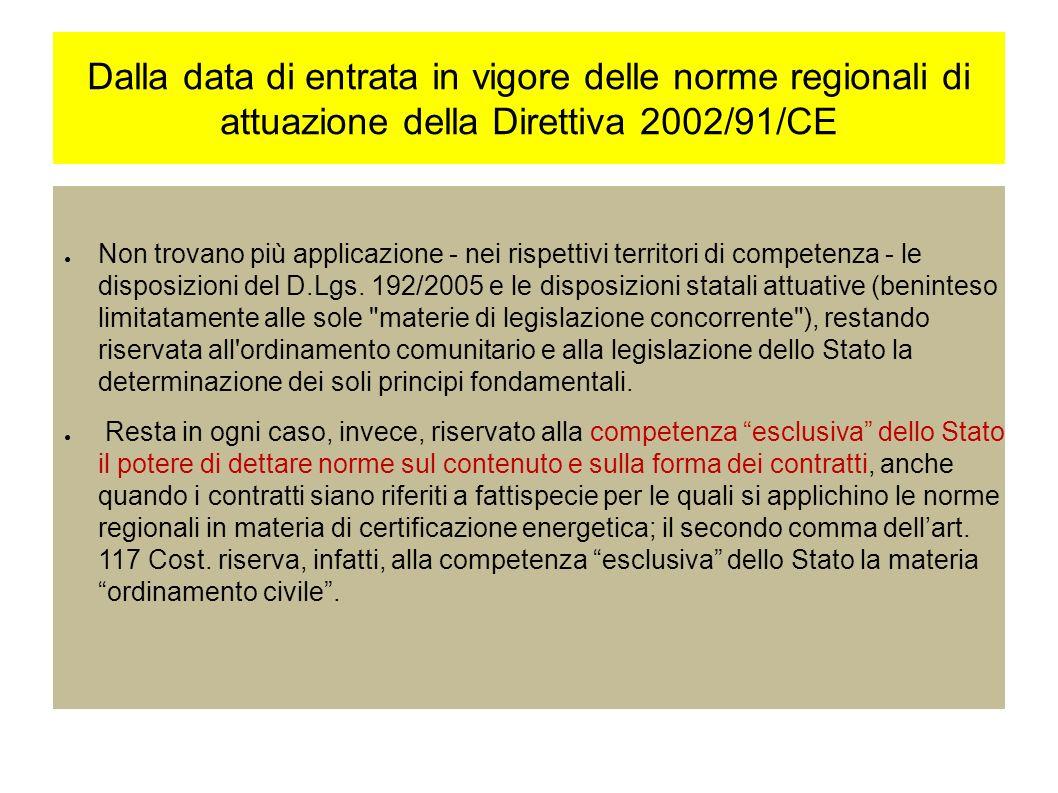 Dalla data di entrata in vigore delle norme regionali di attuazione della Direttiva 2002/91/CE Non trovano più applicazione - nei rispettivi territori di competenza - le disposizioni del D.Lgs.