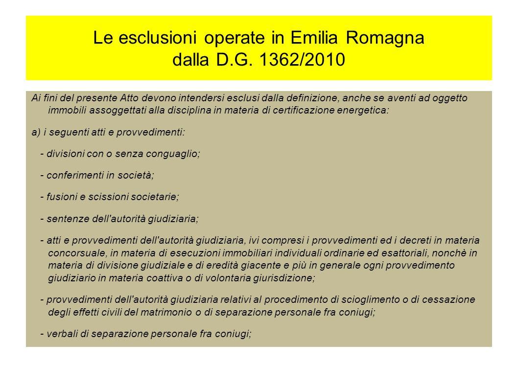 Le esclusioni operate in Emilia Romagna dalla D.G.