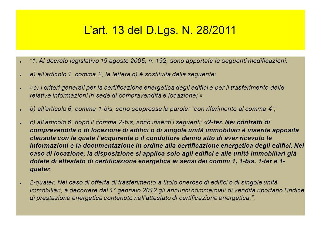 Lart. 13 del D.Lgs. N. 28/2011 1. Al decreto legislativo 19 agosto 2005, n.