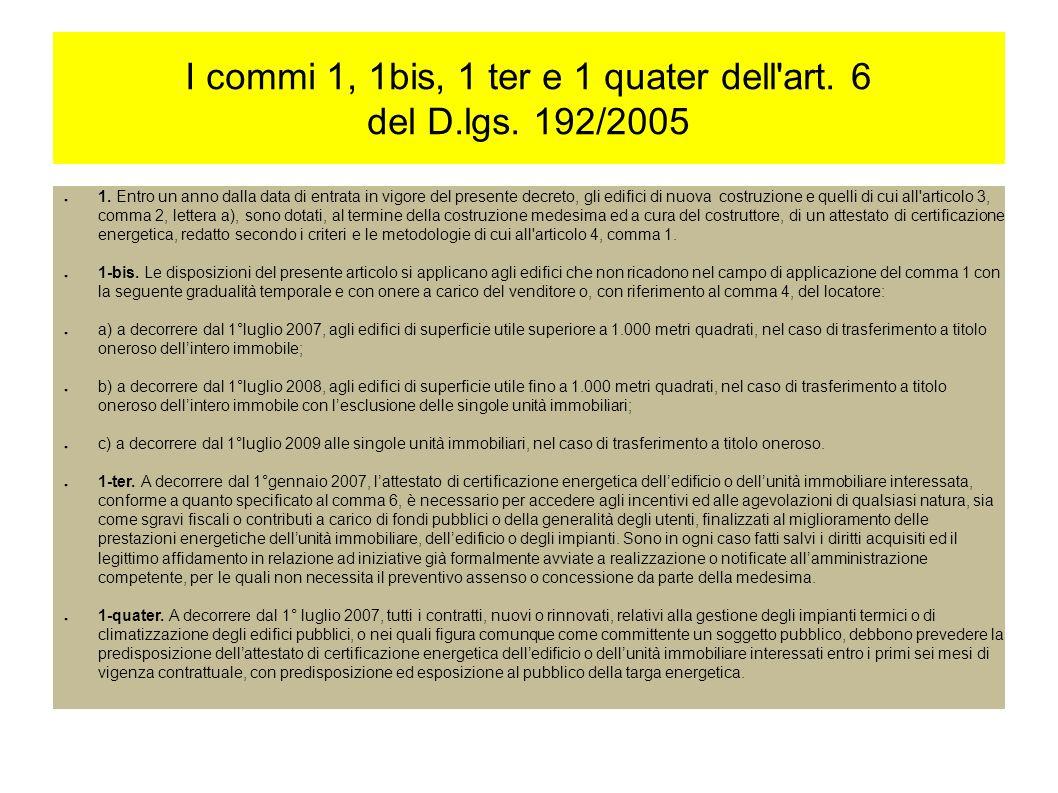 I commi 1, 1bis, 1 ter e 1 quater dell art. 6 del D.lgs.