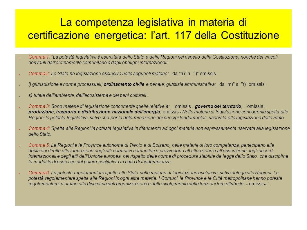 La competenza legislativa in materia di certificazione energetica: lart.