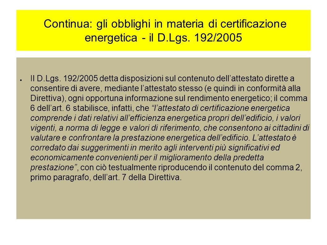 Continua: gli obblighi in materia di certificazione energetica - il D.Lgs.