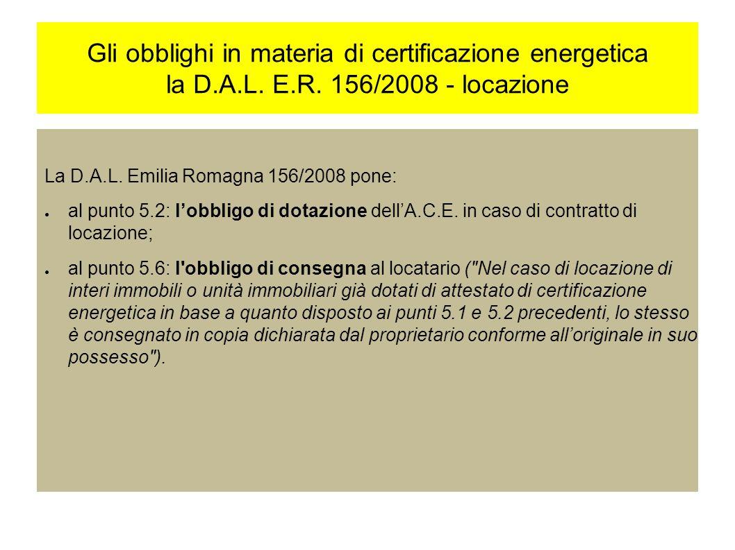 Gli obblighi in materia di certificazione energetica la D.A.L.