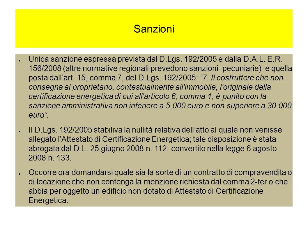 Sanzioni Unica sanzione espressa prevista dal D.Lgs.