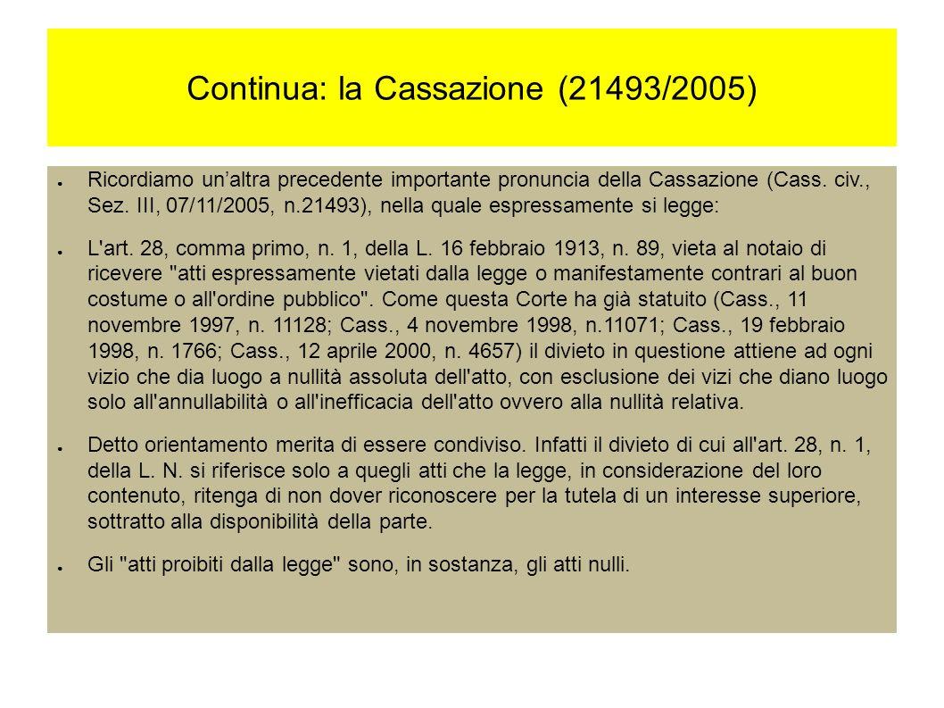 Continua: la Cassazione (21493/2005) Ricordiamo unaltra precedente importante pronuncia della Cassazione (Cass.
