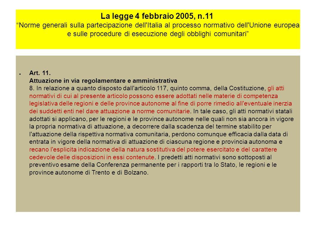 La legge 4 febbraio 2005, n.11 Norme generali sulla partecipazione dell Italia al processo normativo dell Unione europea e sulle procedure di esecuzione degli obblighi comunitari Art.