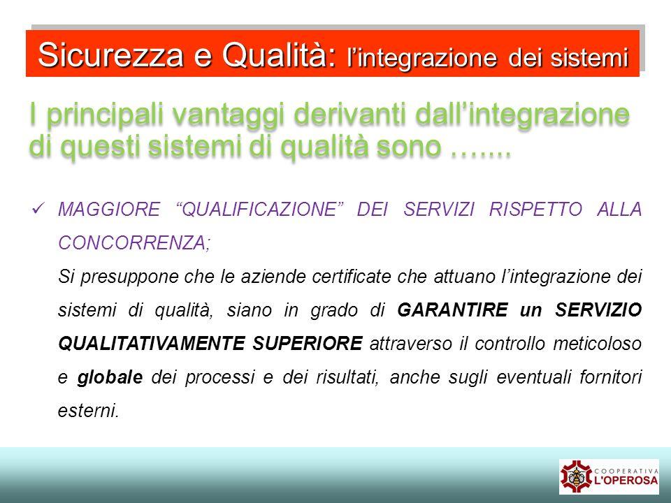 Sicurezza e Qualità: lintegrazione dei sistemi I principali vantaggi derivanti dallintegrazione di questi sistemi di qualità sono ….... MAGGIORE QUALI