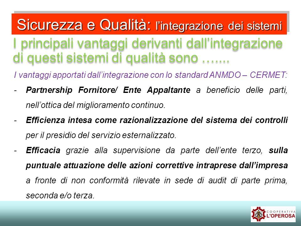 Sicurezza e Qualità: lintegrazione dei sistemi I principali vantaggi derivanti dallintegrazione di questi sistemi di qualità sono ….... I vantaggi app
