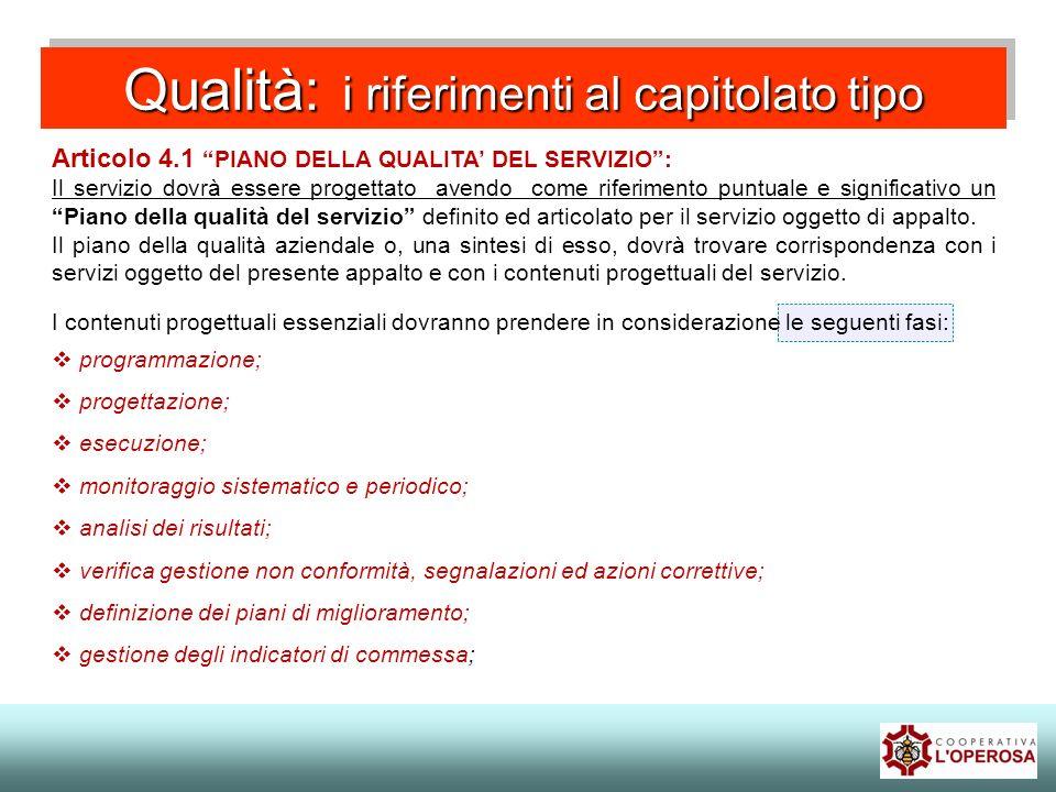 Qualità: i riferimenti al capitolato tipo Articolo 4.1 PIANO DELLA QUALITA DEL SERVIZIO: Il servizio dovrà essere progettato avendo come riferimento p