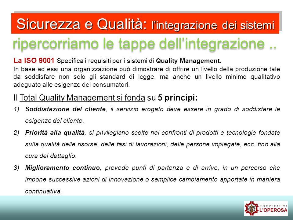 Sicurezza e Qualità: lintegrazione dei sistemi ripercorriamo le tappe dellintegrazione.. La ISO 9001 Specifica i requisiti per i sistemi di Quality Ma