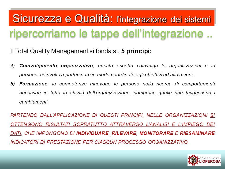 Sicurezza e Qualità: lintegrazione dei sistemi ripercorriamo le tappe dellintegrazione.. Il Total Quality Management si fonda su 5 principi: 4)Coinvol