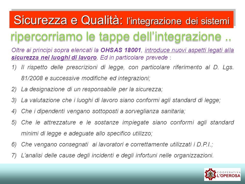 Sicurezza e Qualità: lintegrazione dei sistemi ripercorriamo le tappe dellintegrazione..