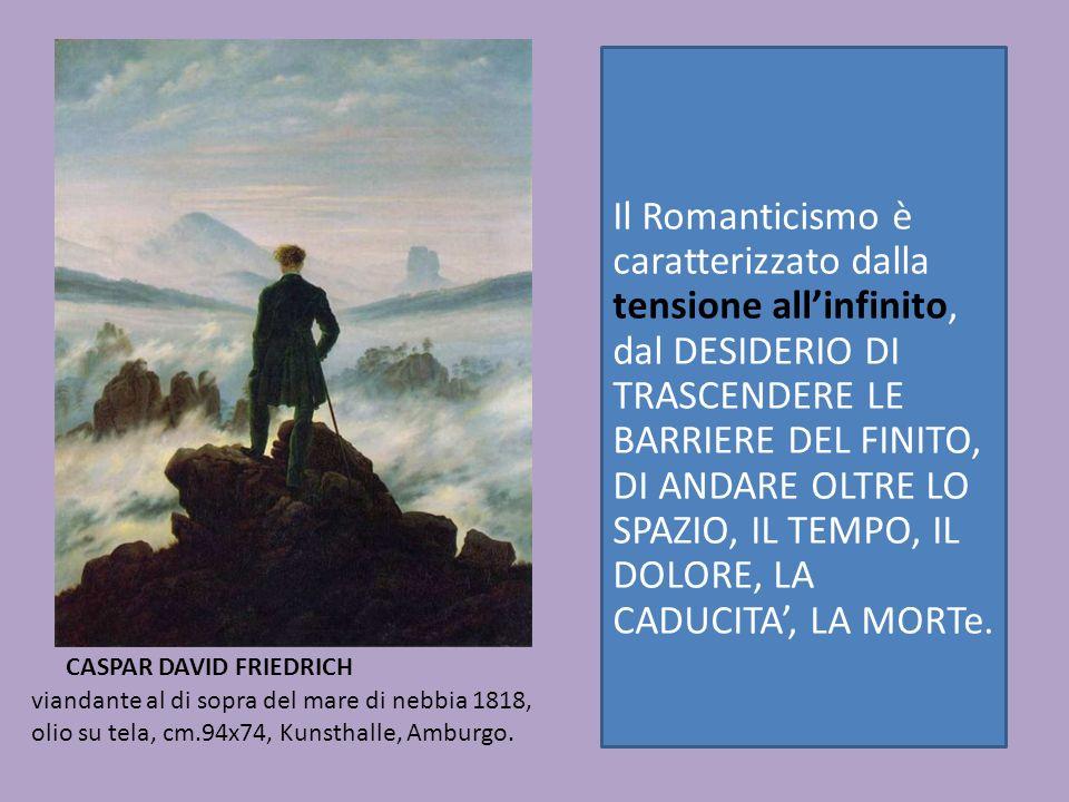 viandante al di sopra del mare di nebbia 1818, olio su tela, cm.94x74, Kunsthalle, Amburgo. CASPAR DAVID FRIEDRICH Il Romanticismo è caratterizzato da