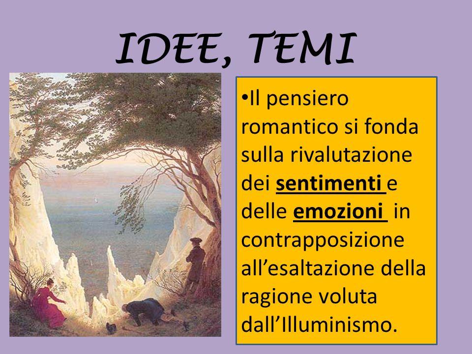 IDEE, TEMI Il pensiero romantico si fonda sulla rivalutazione dei sentimenti e delle emozioni in contrapposizione allesaltazione della ragione voluta