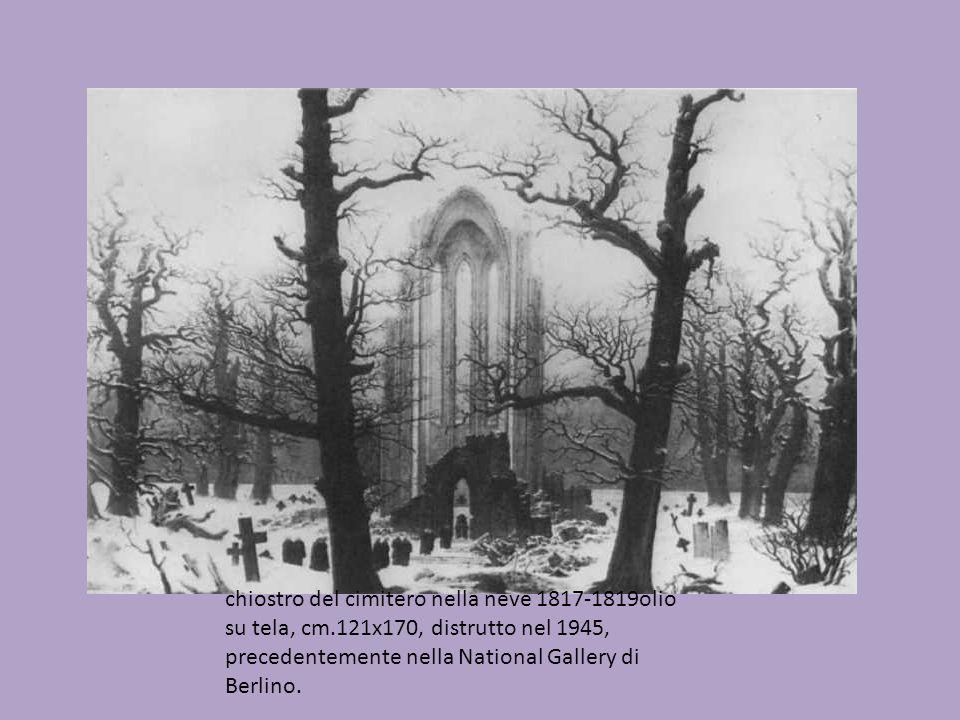 chiostro del cimitero nella neve 1817-1819olio su tela, cm.121x170, distrutto nel 1945, precedentemente nella National Gallery di Berlino.