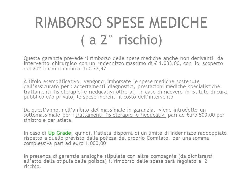 RIMBORSO SPESE MEDICHE ( a 2° rischio) Questa garanzia prevede il rimborso delle spese mediche anche non derivanti da intervento chirurgico con un ind