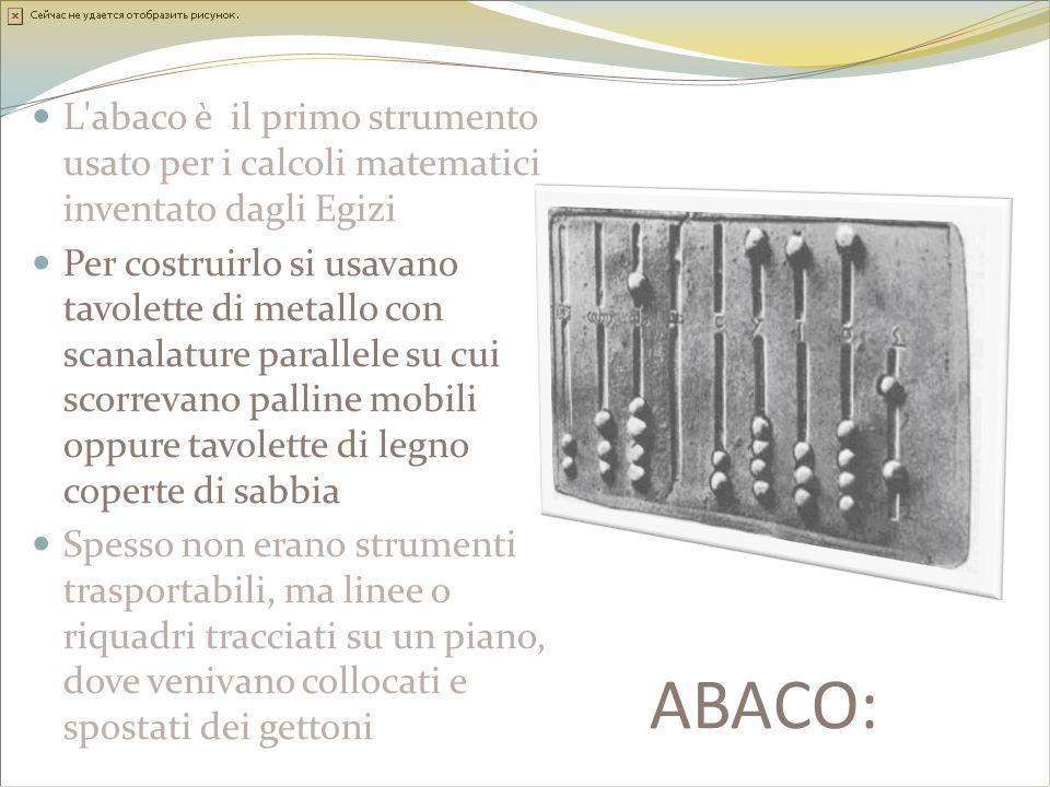 ABACO: L'abaco è il primo strumento usato per i calcoli matematici inventato dagli Egizi Per costruirlo si usavano tavolette di metallo con scanalatur