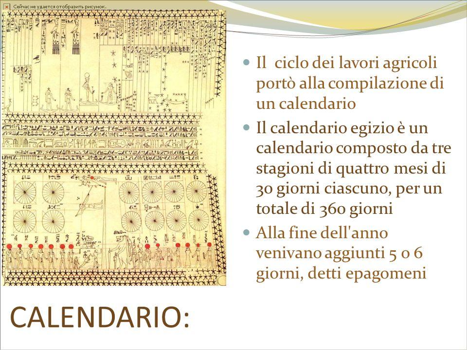 CALENDARIO: Il ciclo dei lavori agricoli portò alla compilazione di un calendario Il calendario egizio è un calendario composto da tre stagioni di qua